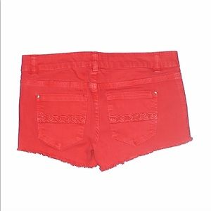 love, Fire Shorts - Love Fire   Red Distressed & Embroidered Shorts